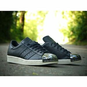 size 40 3afe2 19722 Image is loading ADIDAS-SUPERSTAR-80-039-S-BLACK-LEATHER-AQ2367-