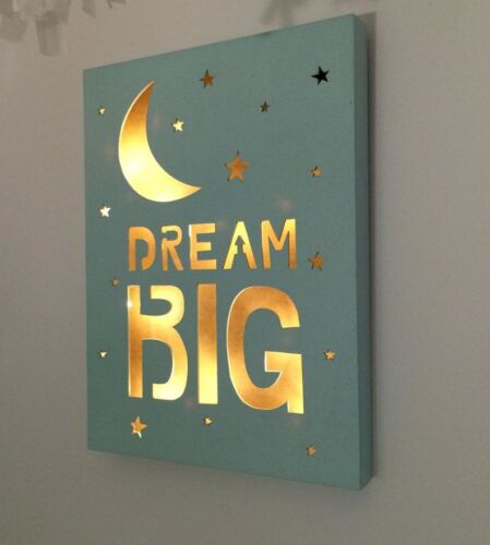 Dream Big Night Light Kids Moon /& Stars LED Wall Baby Nursery Decor