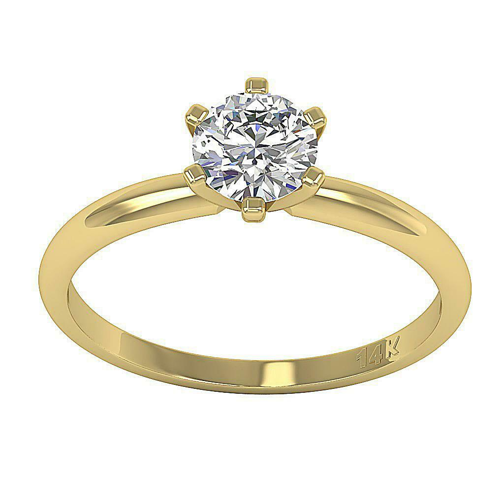 Solitaire Ring Anniversary SI1 G 1 2 Ct Round Diamond 14K Solid gold Size 4-12