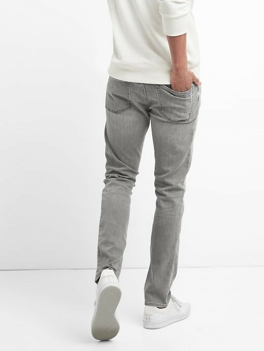 Gap Men's Grey Wash Wearlight Jeans Skinny Fit GapFlex sz 36Wx30L NWT RRP