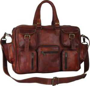 Mens-Leather-Luggage-Suitcase-Travel-Weekend-Overnight-Tote-Messenger-Duffle-Bag
