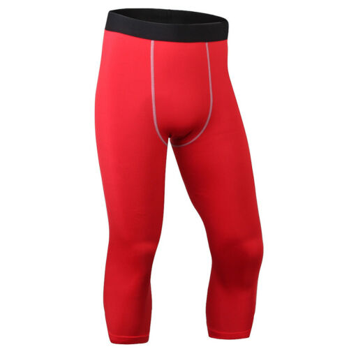 Men/'s Compression Tights Pants Base Layers Running Sports Fitness 3//4 Trouser
