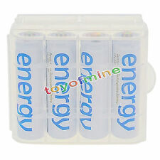 4x AA 3300mAh Ni-Mh Energy Rechargeable Battery White Cell for MP3 RC + 1x Case