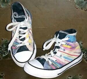 bomba dinámica Amargura  Converse All Stars Negro Corbata Arco Iris teñido Zapatos Tenis altas niños  12 *   eBay