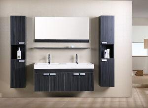Mobile bagno doppio lavabo completo pensile 120cm wenge con specchio e rubinetto ebay - Pensile specchio bagno ...