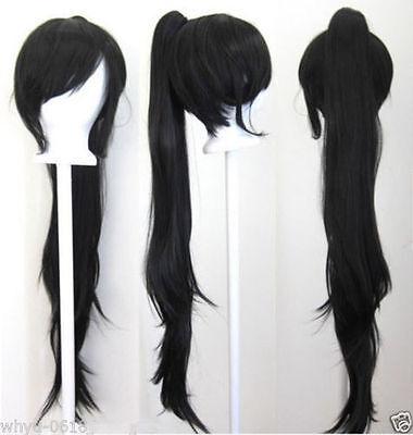 40'' Wavy Claw Clip Pony Tail Black Cosplay Wig
