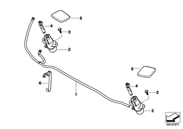 BMW E83 E81 E87 E82 E88 FRONT HEADLIGHT WASHER PRESSURE NOZZLE WITH HEAD RIGHT