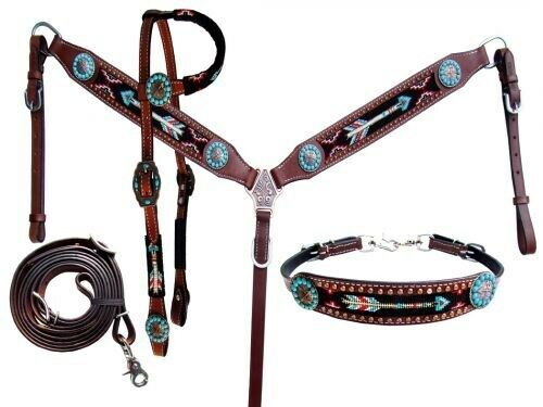 Showman Bridle, Breast Collar, Wither Strap & Rein Set w Beaded Arrow Design