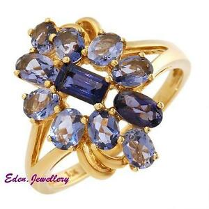 US-850-Extraordinary-amp-Pretty-Ring-GENUINE-1-55ctw-IOLITE-Yellow-Gold-75-OFF