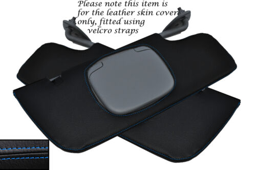 BLUE STITCHING  2X SUN VISORS LEATHER SKIN COVERS FITS FORD MUSTANG 2005-2009