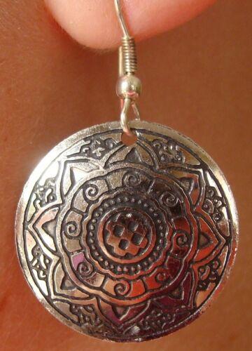 Boucles d/'oreille danse orientale Bollywood sari hippie couleur argent Inde N°3