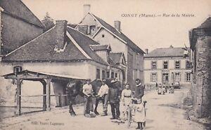 CPA-51-CONGY-Marne-Rue-de-la-Mairie-belle-animation