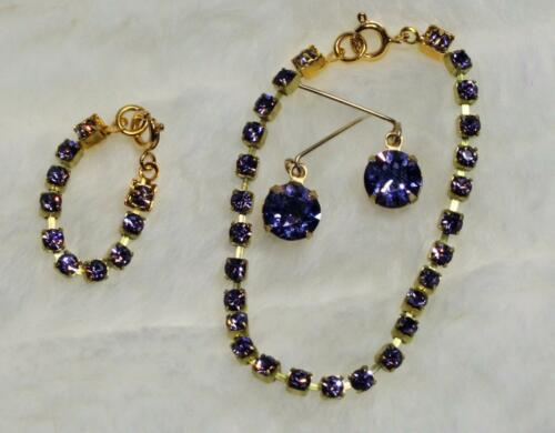 "CHIC Purple Rhinestone Jewelry Set Necklace Earrings for Cissy 20-22/"" Doll Lt"