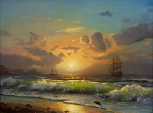 Vintage Home Art Decor Sailboat Nautical Seascape Oil Painting Printed On Canvas