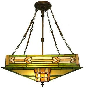 Dining Room Light Fixture Tiffany Style Stained Glass Ceiling Chandelier Mission