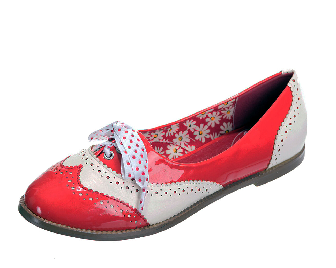 Banned Dancing Days Milana red cream patent retro brogue flat shoes size 3-8