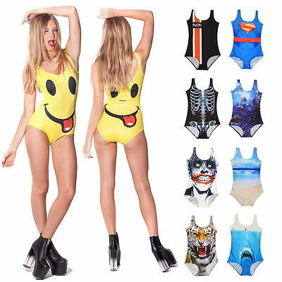 Sexy Women's Swimwear Digital Printing One-Piece Bikini Swimsuit Beachwear FM