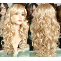 New  Hot Women Long Wavy Curly Blonde Party Hair Full Cosplay Heat Resistant Wig