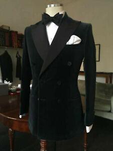 Men-Velvet-Jacket-Coat-Pant-Blazers-Designer-Black-Double-Breasted-Tuxedo-Dinner