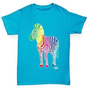 Twisted-Envy-Boy-039-s-Rainbow-Zebra-Imprime-T-shirt-en-coton