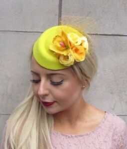 efbb626b0e0 Yellow Rose Flower Pillbox Hat Fascinator Hair Clip Races Wedding ...