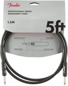 Fender Professional Series 5ft Black Jack Jack Guitar Instrument Cable