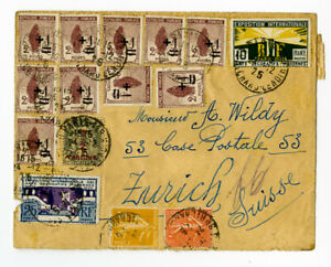France 1925 Registered Cover to Switzerland with 30+ Stamps