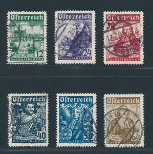 """Austria 1933, MER. 557-62 timbrato, """"Katholikentag"""" con timbro calendario!!! MER. 5"""