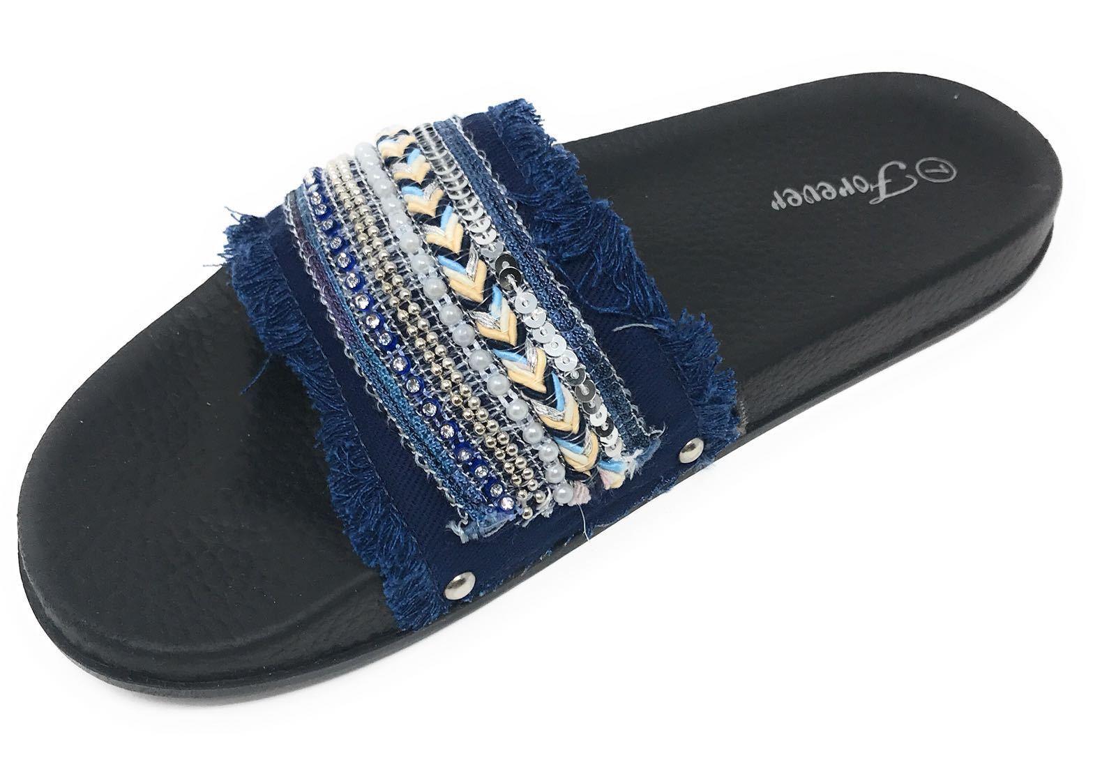 Women's Sequins Bead Tassel By Fringe Slide Casual Sandals Izzy-88 By Tassel Forever 6c4858