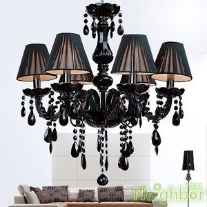 Image Is Loading Modern Black Crystal Chandelier Pendant Light Ceiling Lamp