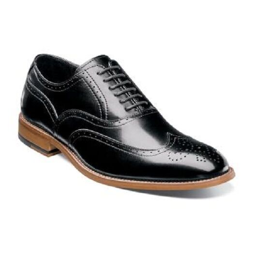 Stacy Adams Mens Dunbar antiqued leather Black wingtip oxford 25064-001