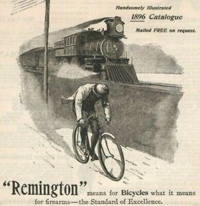 Remington Bicycles 1896 Cyclist Racing Steam Train Vintage Print Ad