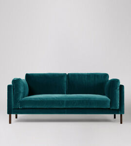 Swoon Munich Living Room Kingfisher Easy Velvet Two-Seater Sofa - RRP £1299