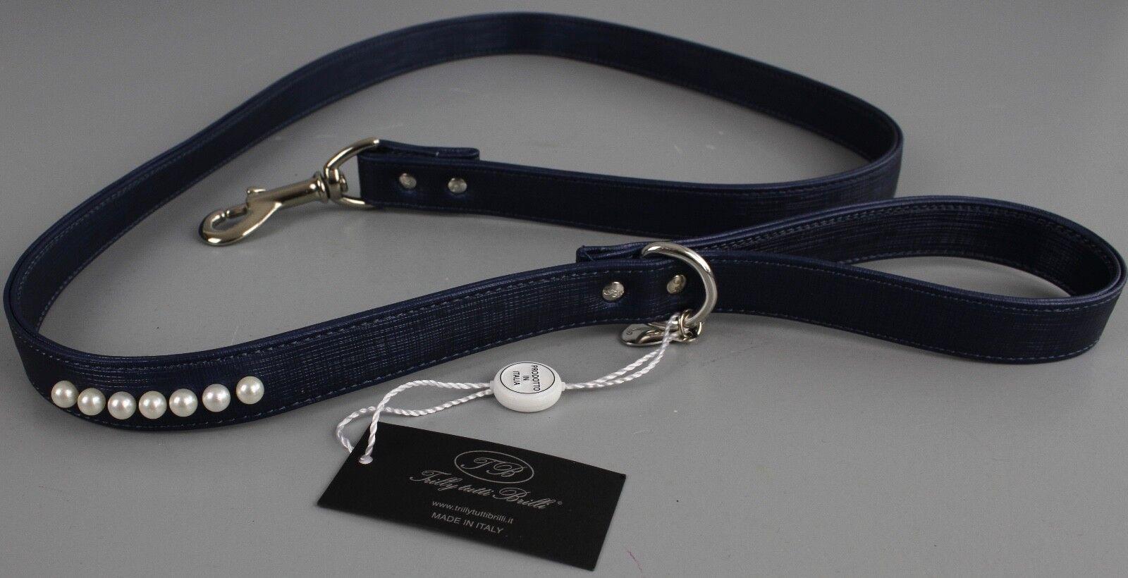 Trilly Tutti Brilli Hund Hundeleine Dunkelblau mit Perlen Leine 120cm K4-C4  |