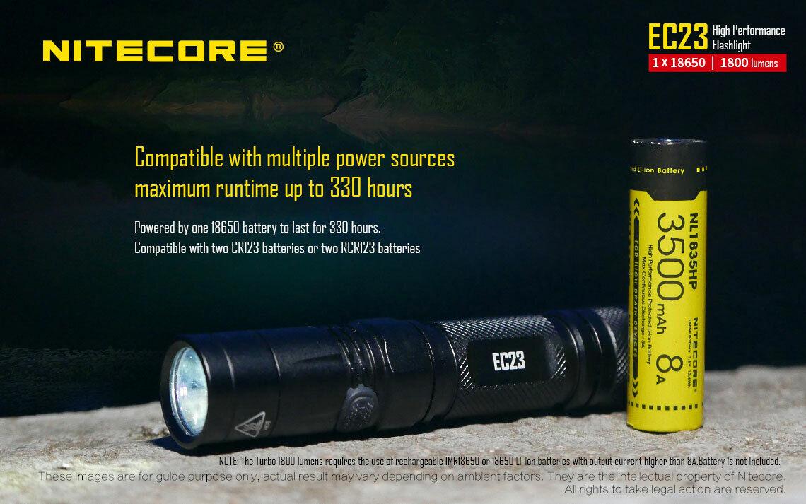 Nitecore EC23 Flashlight w 1x 18650 3100 mAh Battery & USB 18650 Charger