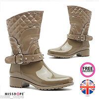 Khaki Side Buckle Winter Boots Crystal Low Heel Womens Calf Wellies Ladies
