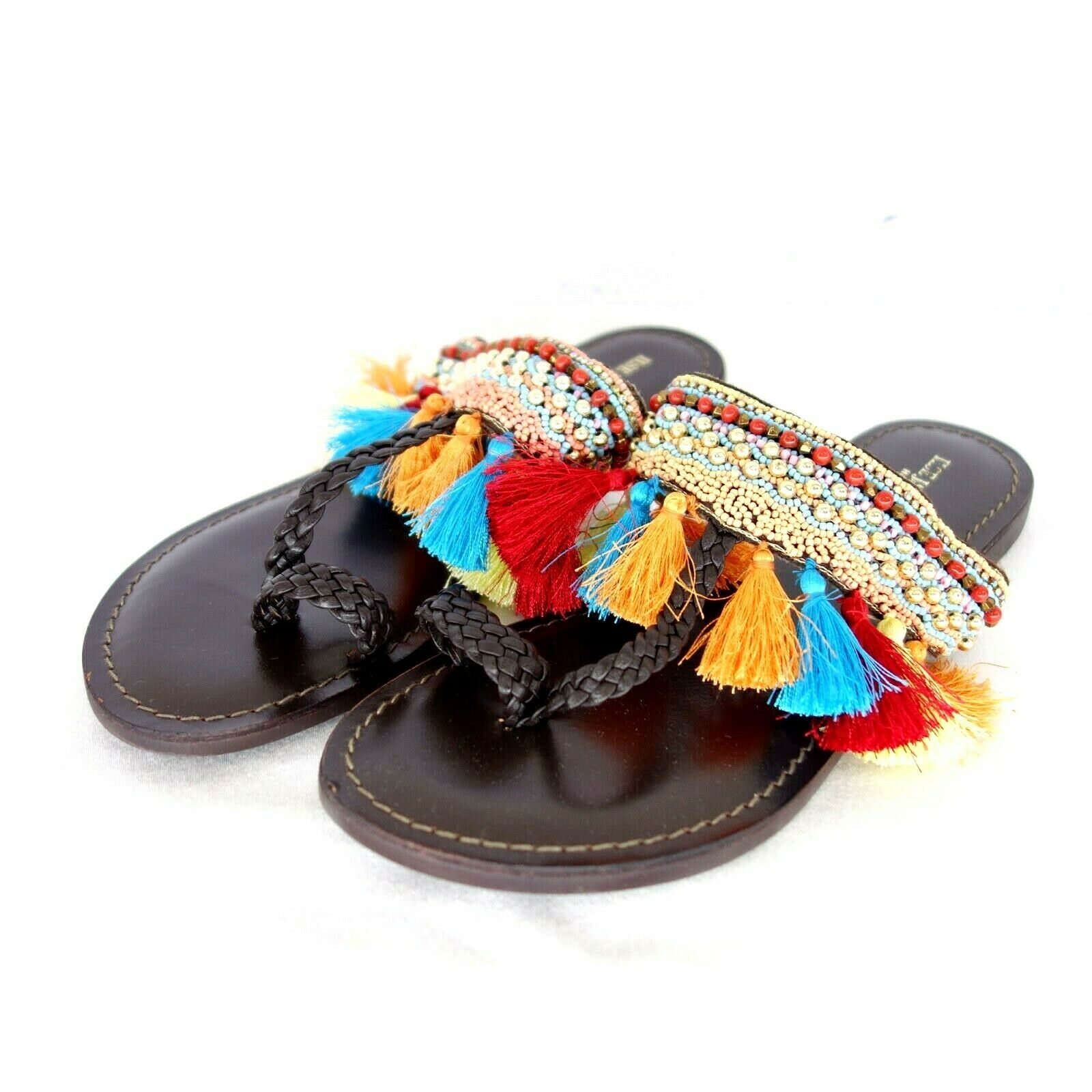 Ilse Jacobsen Women's shoes frixa Sandals Sizes. 36 38 Leather Flat Pom-Pom NP 99