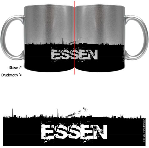 Vivid Cup with Beacon Motif Eat Skyline ~ Color Silver-Metallic ~ Coffee