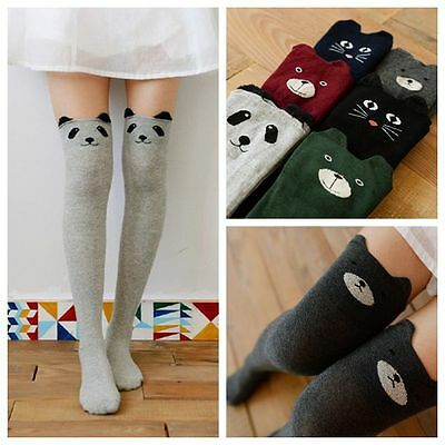 Cute Cartoon Bear Three-Dimensional Pattern Rib Cotton Knee/ Thigh High Socks