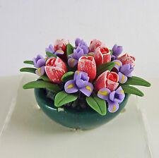 Dollhouse Miniature Tulips and Iris Floral Planter Bowl