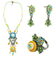 Authentic Italian Made Fashion Designer Jewelry Set: Necklace, Earrings, Ring