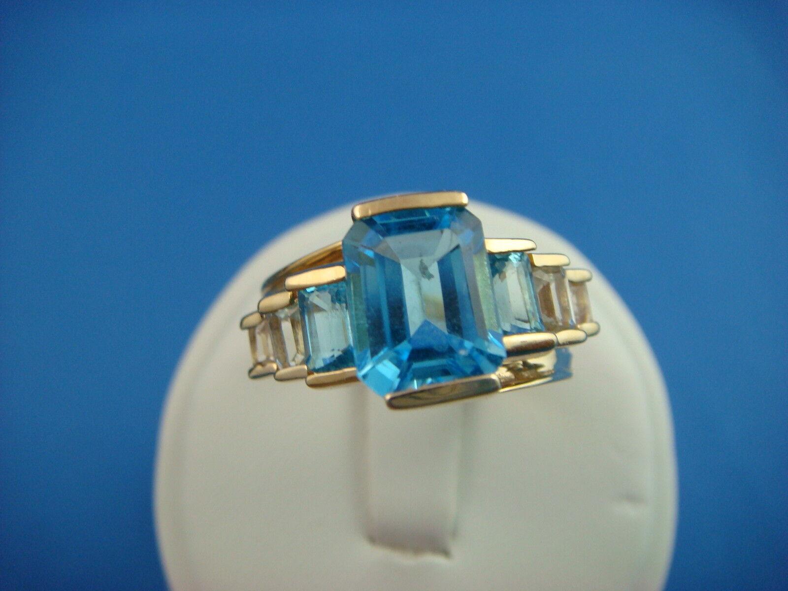 blueE & WHITE TOPAZ IN 14K YELLOW gold SETTING DESIGNER LADIES RING