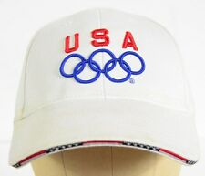 USA OLYMPIC OLYMPICS TEAM WHITE HAT CAP VINTAGE SNAPBACK