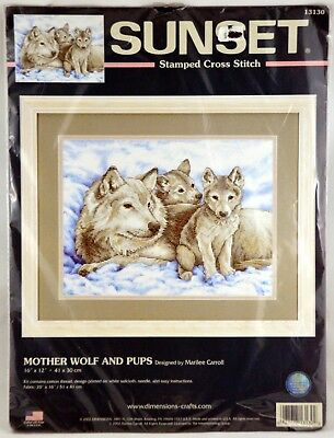 12 x 16 Dimensions Mother Wolf and Cubs Stamped Cross Stitch Kit