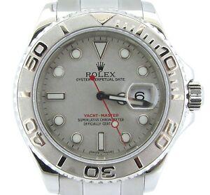 Rolex-Yate-Master-Hombre-Acero-Inoxidable-amp-Platino-Engaste-Esfera-Reloj-40mm