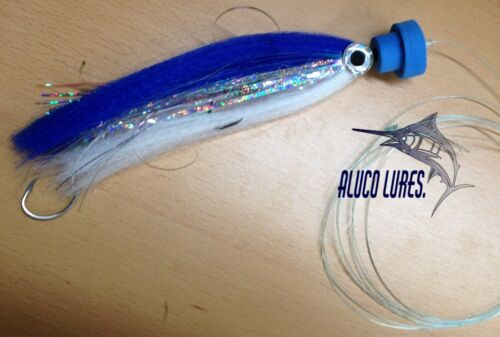 7-inch Pack of 3 Blue//White Offshore Marlin//Sailfish Tube Rigged c//w Popper