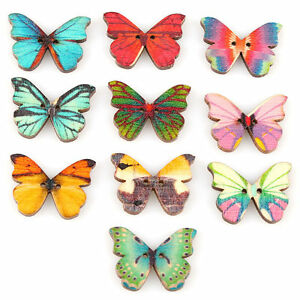 50pcs-2-Holes-Mixed-Butterfly-Shape-Wooden-Sewing-Mend-Scrapbooking-DIY-Buttons