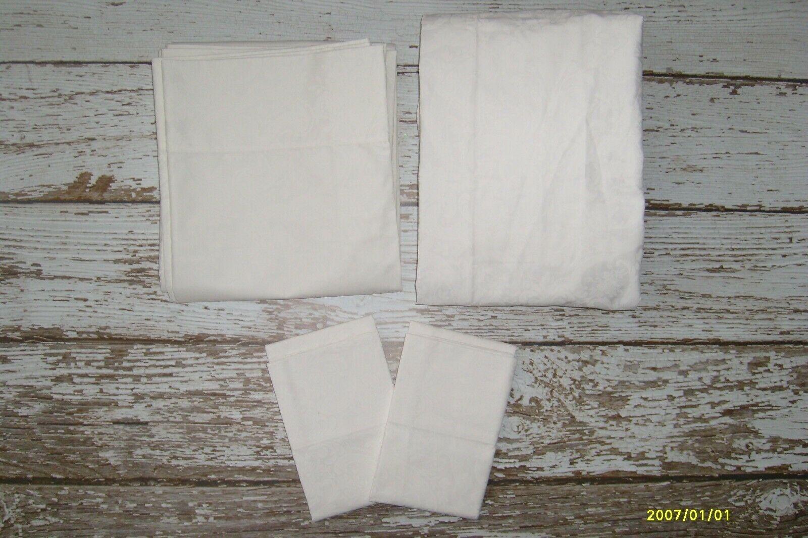 Vintage RALPH LAUREN Avery Weiß 4 Pc Full Größe Sheet Set Flat Fitted Cases  NEW