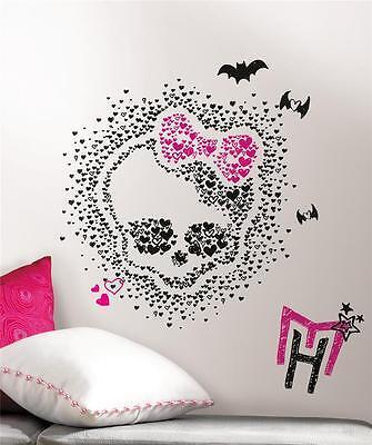 MONSTER HIGH HEART SKULLETTE GiaNT WALL DECALS Black Pink Skull Stickers DeCoR