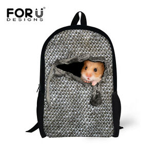b3772c9e7e72 Image is loading Cute-Hamster-Backpacks-Girls-School-Bag-Boys-Bookbag-